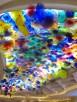 Hand blown glass flower art work chandelier called the Flori di Como inside the Bellagio hotel