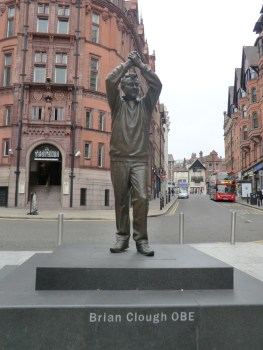 Kneel before God! Brian Clough statue facing towards market square.
