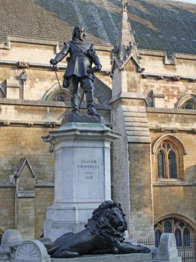 Lord Protector Oliver Cromwell outside Westminster Palace