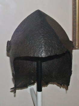 Great basinet skull helmet in excavated condition. The great basinet was worn quite extensively by men-at-arms during the Agincourt phase of the Hundred Years War.