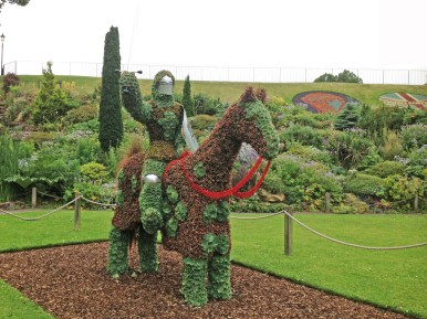 Hedge Knight in the grounds of Nottingham Castle. All made from succulents.