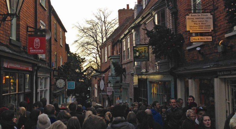 The streets around Lincoln's Christmas market