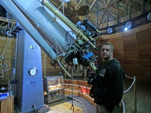 Me operating the Lowell Observatory dome.