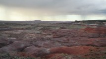 The Painted Desert.  Comprised of stratified layers of easily erodible siltstone, mud and shale of the Triassic Chinle formation