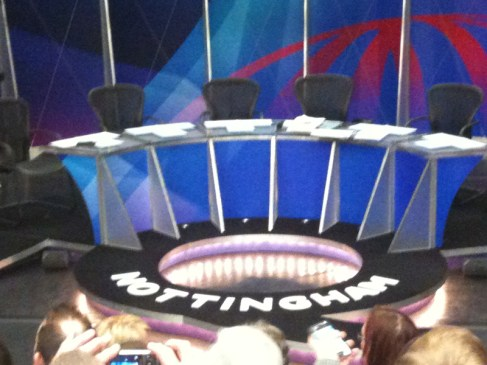 The Question Time stage at Nottingham.