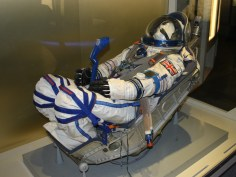 Sokol KV2 pressure suit. Russian pressure suit of the same type that Helen Sharman's wore during her flight to the Mir space station. The launch couch is the one that she used for her space flight.