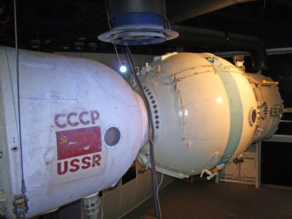 Soyuz capsule showing the front spherical orbital module and the central return module