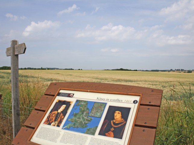 Looking over the battlefield of Towton. In 1461, the largest and bloodiest battle ever fought on English soil resulted in the reported deaths of 28,000 men. Any romantic visions of the Wars of the Roses should be dismissed as men fleeing over the fields at Cock Beck and Bloody Meadow were slaughtered in the rout.