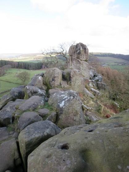 View on top of Robin Hood's Stride looking at the Weasel Pinnacle