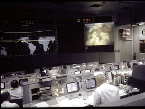 Mission Control during the television transmission from Apollo 13 shortly before the explosion.