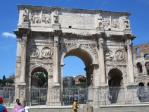 Arch of Constantine situated between the Colosseum and the Palatine Hill where triumphant emperors entered the city.