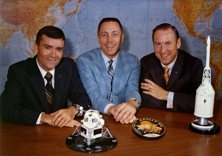 Fred Haise (left), Jack Swigert, and Jim Lovell pose on the day before launch. Photo dated 10 April 1970.