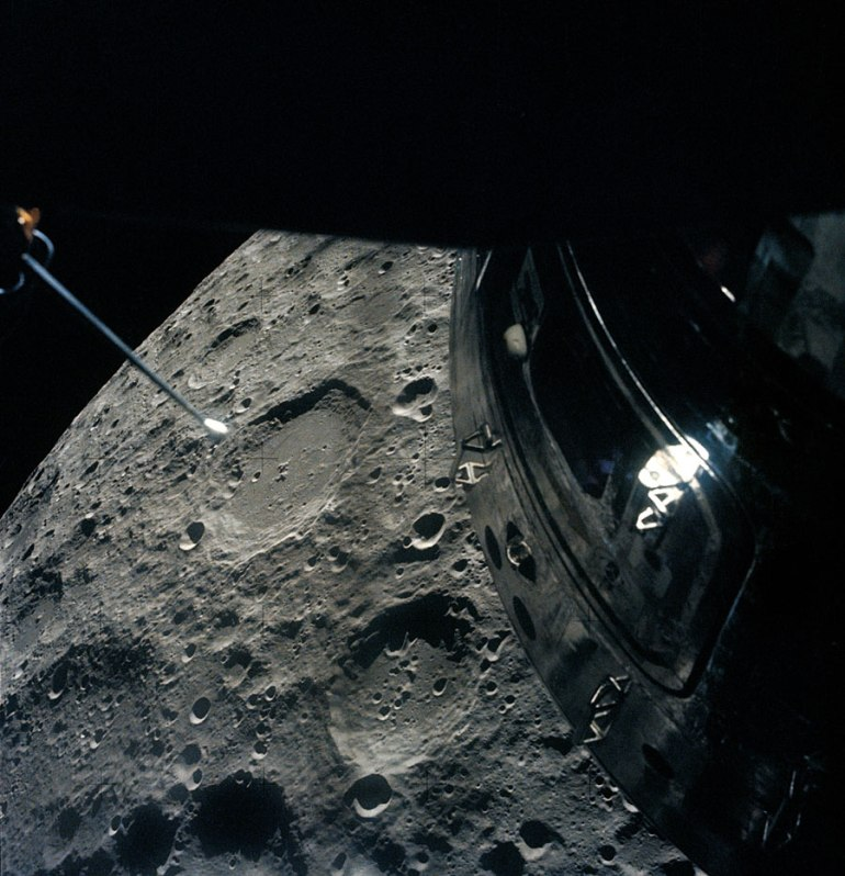 View of the Moon out of the Aquarius Lunar Module window