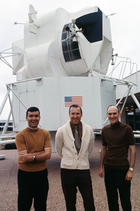 The original Apollo 13 crew, Fred Haise, Jim Lovell and Ken Mattingly. Ken Mattingly was replaced by Jack Swigert 3 days before launch over fears that Ken Mattingly may develop measles.