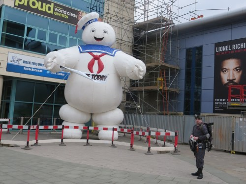 Mr Stay Puft, the Marshmallow Man from Ghostbusters wreaks havoc in Nottingham.