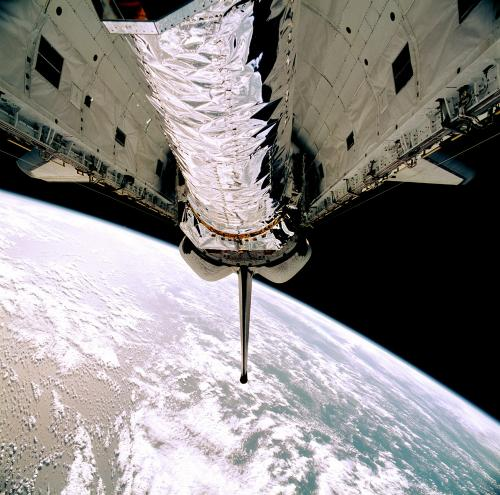 Chandra X-ray observatory , the world's most powerful x-ray telescope, in the cargo bay of the Space Shuttle Columbia on STS-93.
