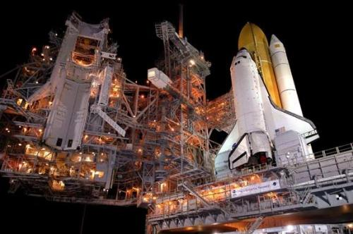NASA's space shuttle Discovery at Launch Pad 39B at Kennedy Space Centre