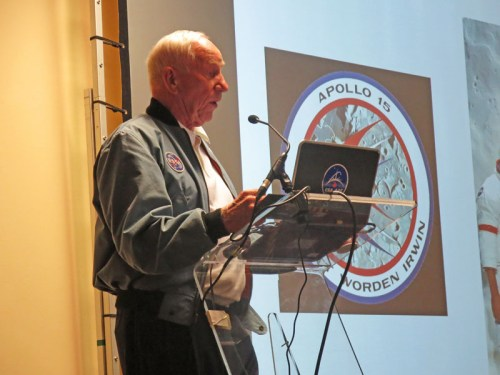 Al Worden talking about the design of the Apollo 15 crew patch at CosmicCon 2015 at Manchester, UK.