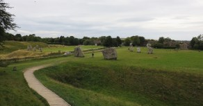 Avebury henge with the road cutting right through the stone circle.