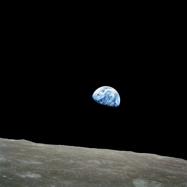 Earthrise as seen by the crew of Apollo 8. 24 December 1968.