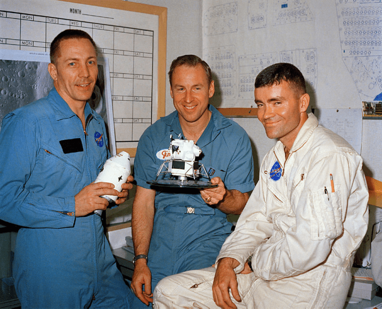 Apollo 13 crew before launch. Jack Swigert, Jim Lovell and Fred Haise.