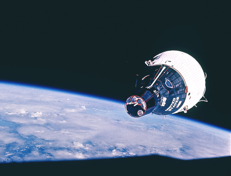 Gemini 7 as seen from Gemini 6 - the first manned space rendezvous .