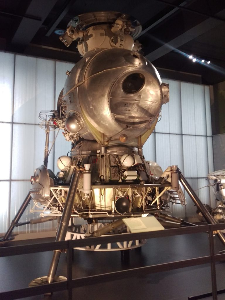 Russian LK-3 Lunar Lander on display at the Cosmonauts: Birth of the Space Age exhibition