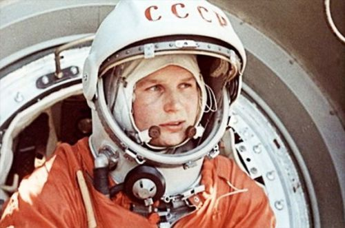 Valentina Tereshkova, the first woman in space, opens the Cosmonauts exhibition in London.