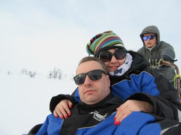 Sam and I husky sledding