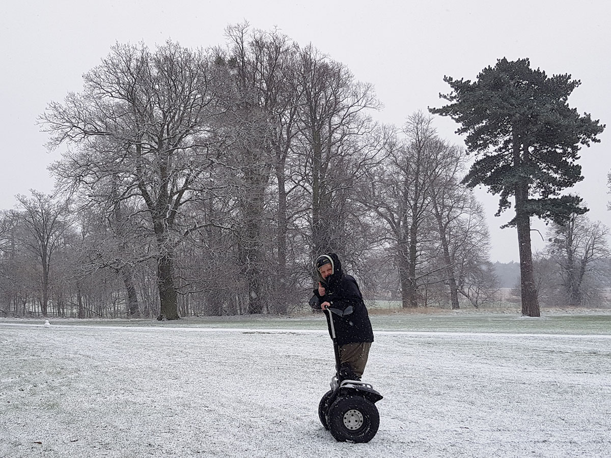 Segway Speed Demons in the Snow at Sherwood Forest