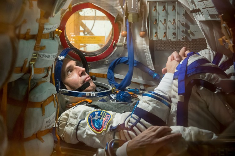 Rick Mastracchio during a Soyuz fit check test