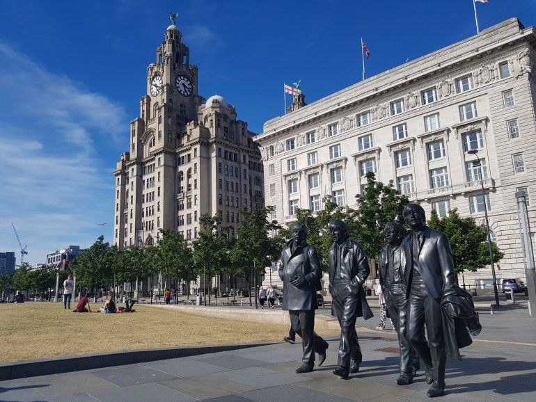 Four mop-tapped lads who shook the world outside the Liver Building