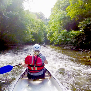 Canoeing on the River Derwent at Matlock