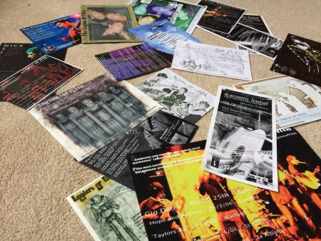 Old flyers for venues including Dublin Castle, Hope and Anchor and many others many