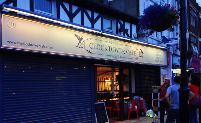 Clocktower Cafe Hanwell Nick Garrett Signwriter West London NGS shop signs