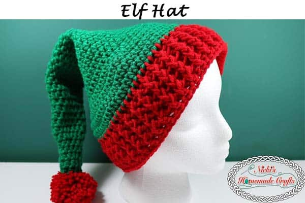 Elf Hat With Pom Pom Free Crochet Pattern Nickis Homemade Crafts