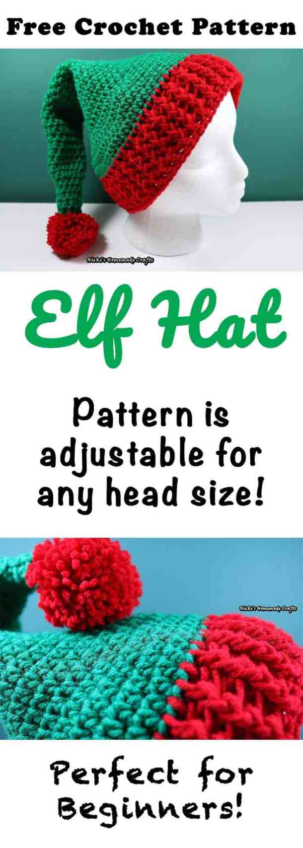 Elf Hat with Pom-pom - Free Crochet Pattern by Nicki's Homemade Crafts #crochet #elf #christmas #hat #beginner #easy