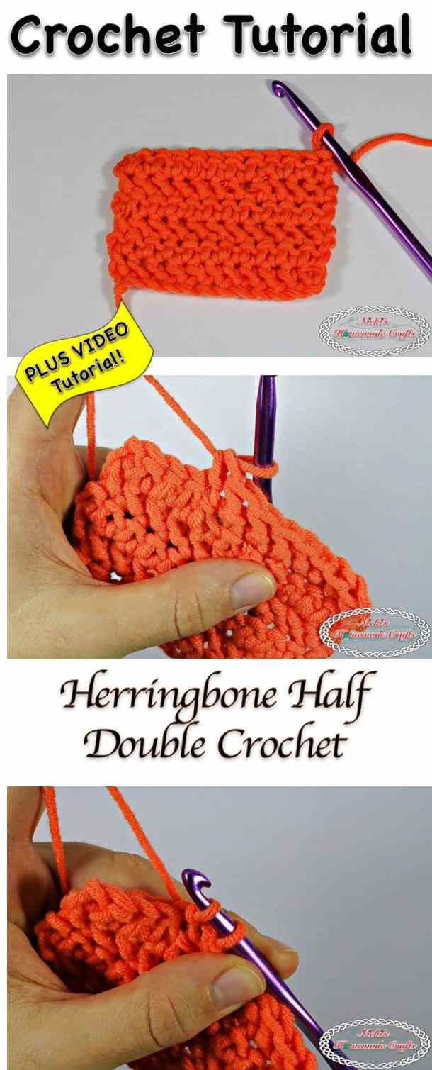 Herringbone Half Double Crochet - Crochet Tutorial with Photos and Video by Nicki's Homemade Crafts