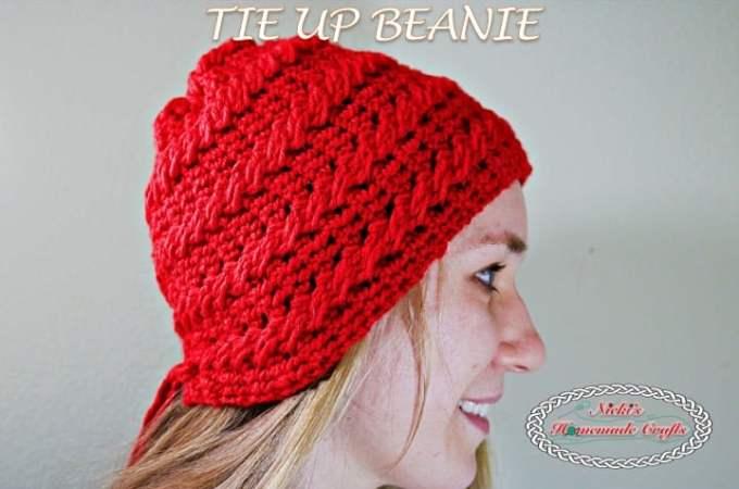 Tie up Beanie – Free Crochet Pattern