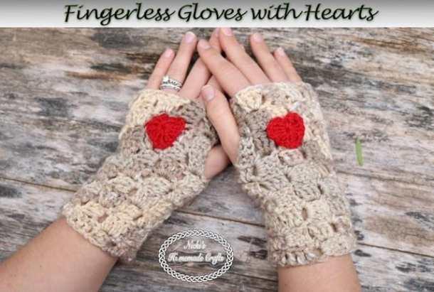 Crochet Fingerless Gloves with Heart