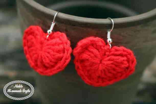 Small Heart Earrings Pattern Free Crochet Pattern Nickis