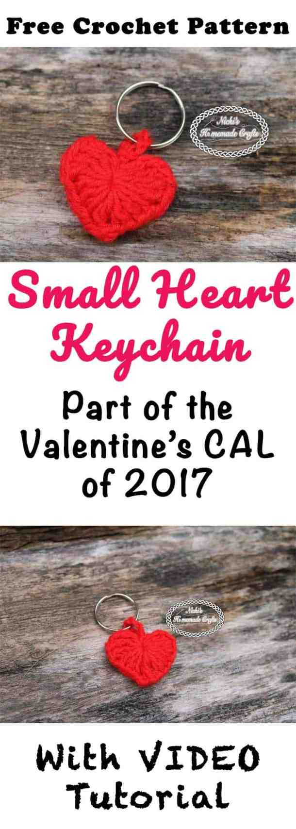 Small Heart Keychain - Free Crochet Pattern by Nicki's Homemade Crafts #crochet #heart #keychain #valentinesday #crochetalong #love