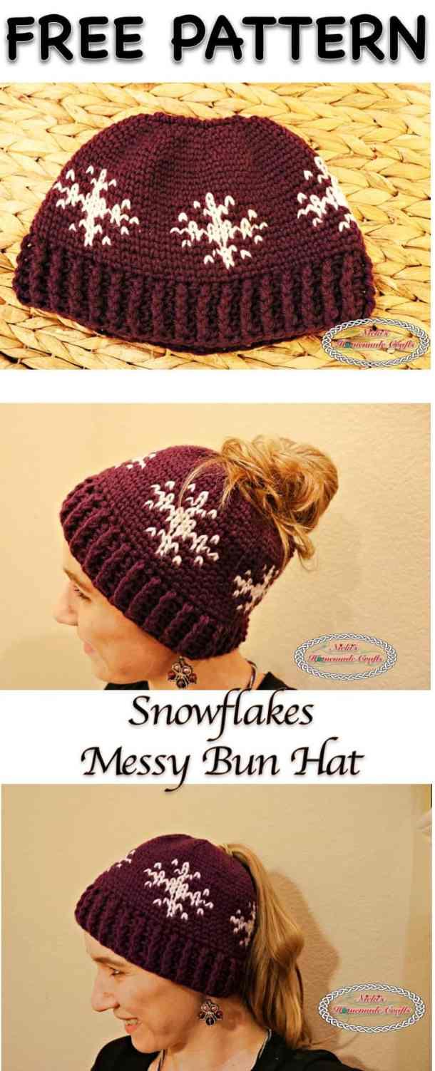 Snowflakes Messy Bun Hat - Free Crochet Pattern