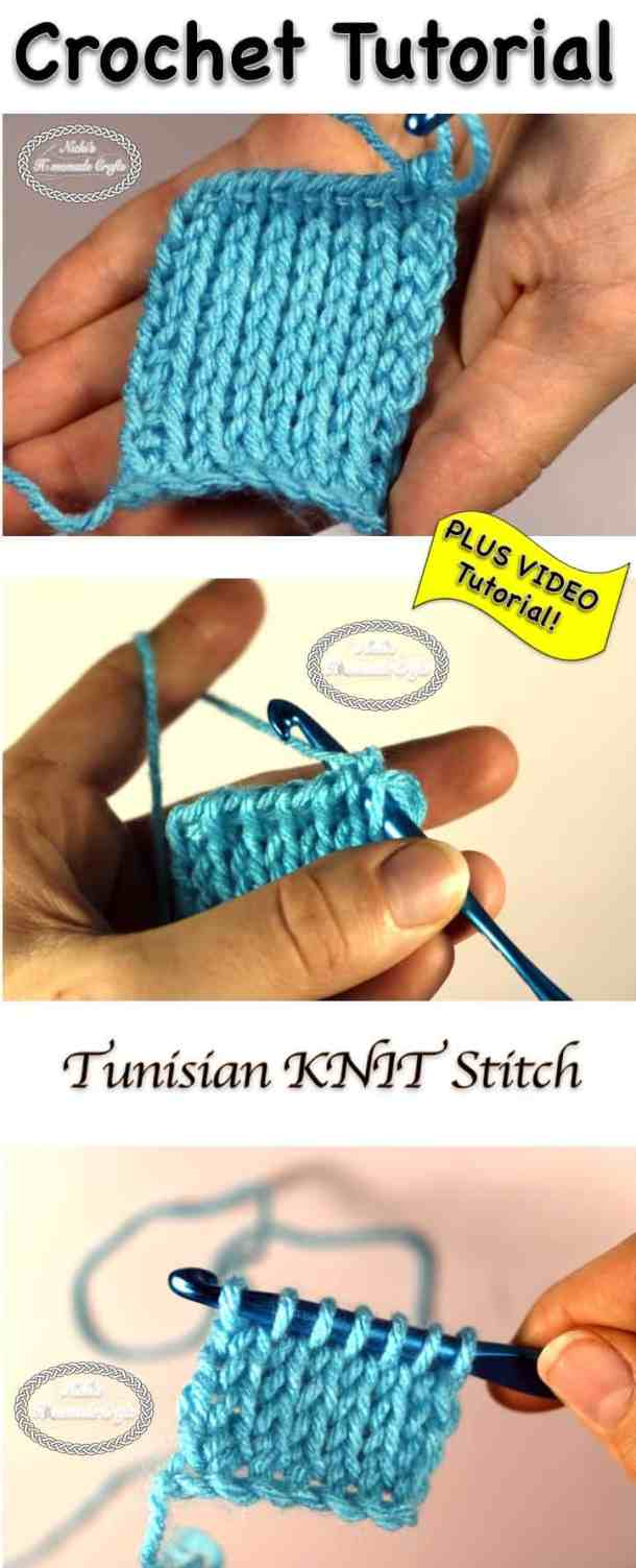 Tutorial Tunisian Knit Stitch Crochet Stitch Tutorial Nickis