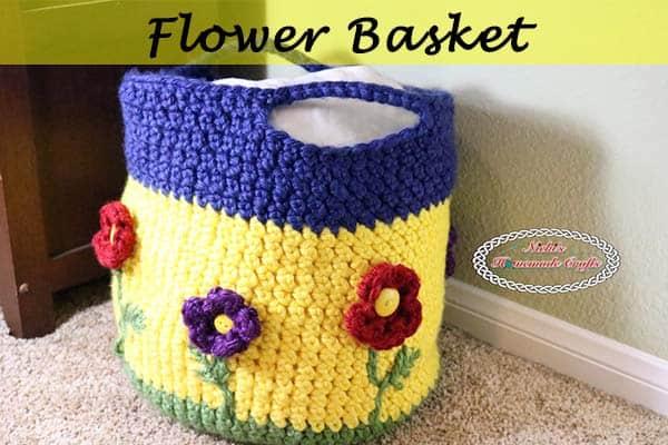 Flower Basket Free Crochet Pattern by Nicki's Homemade Crafts