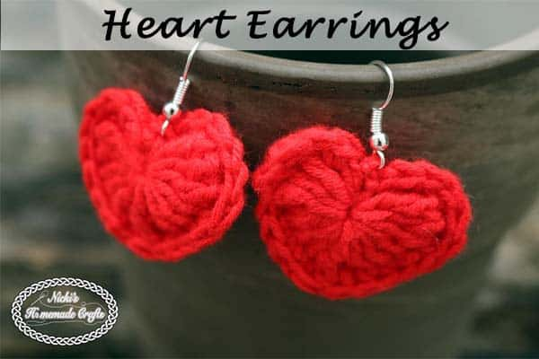 Small Heart Earrings - Free Crochet Pattern by Nicki's Homemade Crafts
