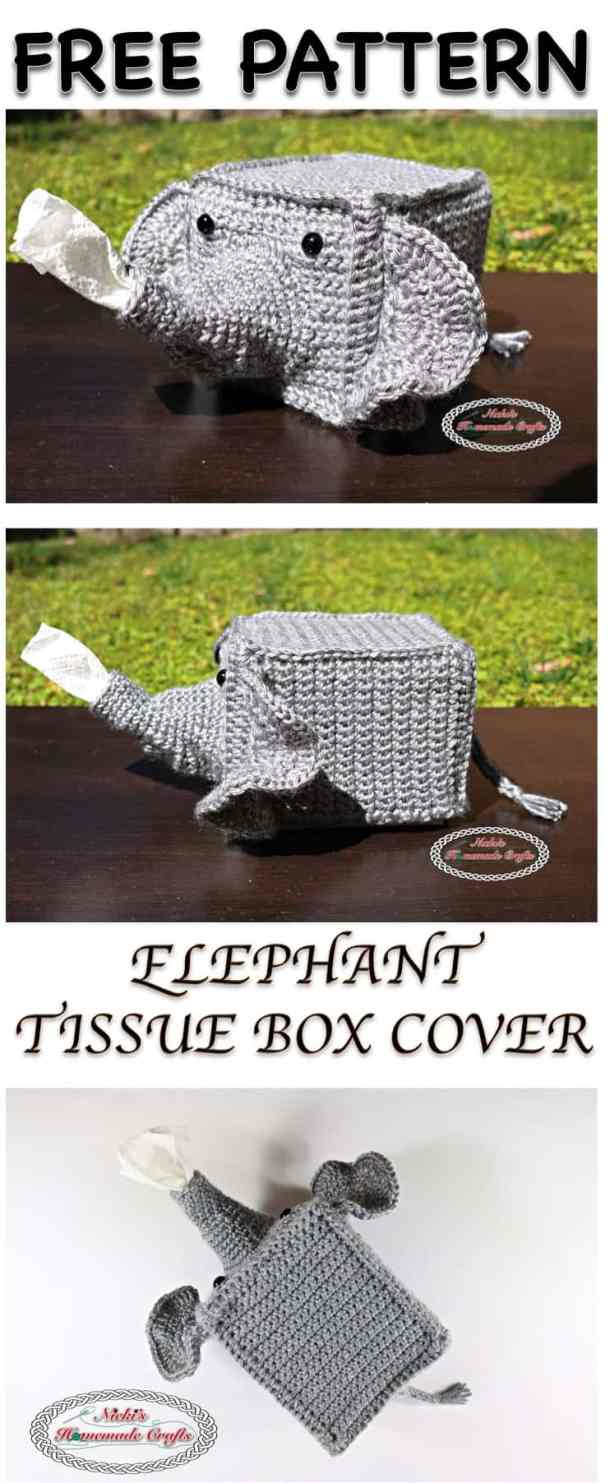 Elephant Tissue Box Cover Free Crochet Pattern Nickis Homemade