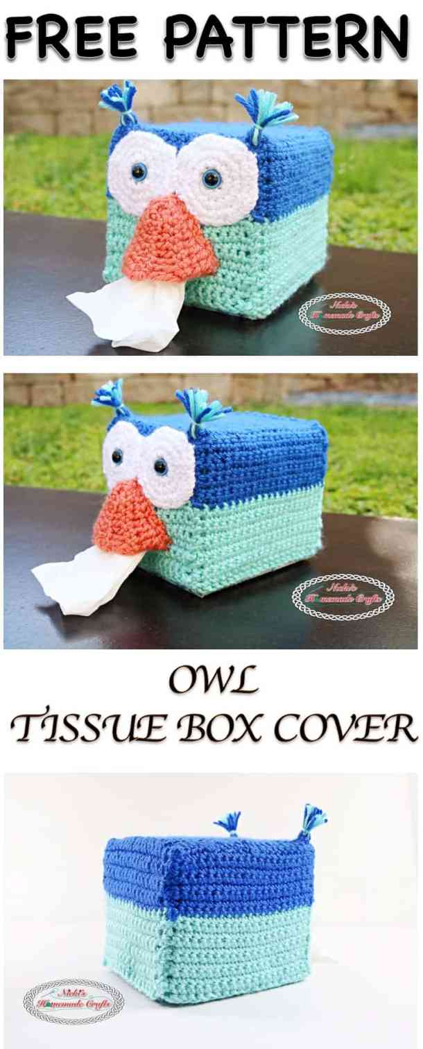 Owl Tissue Box Cover - Free Crochet Pattern - Nicki\'s Homemade Crafts