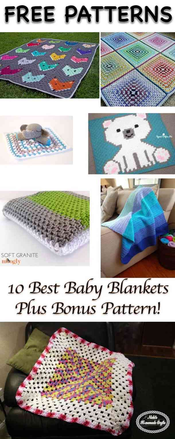 10 Best Baby Blanket Patterns - Collection by Nicki's Homemade Crafts shows blankets with foxes, colorful designs, blue blanket, pink blanket, polar bear blanket, elephant blanket
