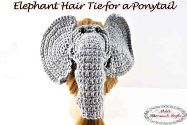 Elephant Hair Tie For A Ponytail Free Crochet Pattern Nickis